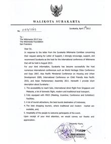 Letter of Support from Mayor of Surakarta