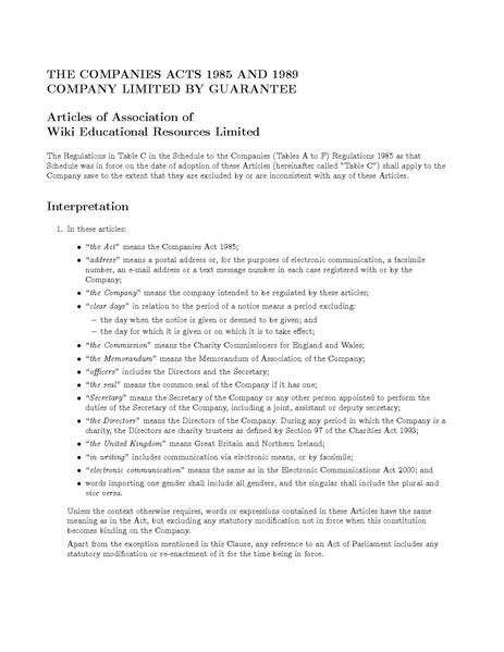Model articles for private companies limited by shares