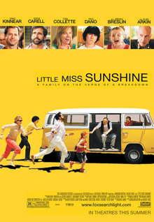 The movie poster shows the family featured in the film chasing a Volkswagen Microbus. The title of the film is located above the vehicle. From left to right: the mother (wearing sunglasses, a white long-sleeve shirt, and pink pants) is in a running stance behind the vehicle, the son (wearing a yellow short-sleeve shirt and black pants) is pushing the vehicle, the uncle (wearing a pink short-sleeve shirt, a white long-sleeve shirt, white pants, and has a black beard) is in a running stance, the daughter (wearing a red headband, red shirt, blue shorts, and glasses) is near the open door of the vehicle, the grandfather (wearing a white t-shirt, a black vest, and gray pants) is seated in the vehicle reaching for the daughter, and the father (wearing a red t-shirt and sunglasses) is driving the vehicle and looking back at his family. The poster has an all-yellow background and, at the top, features the cast's names and reviews by critics. The bottom of the poster includes the film's credits, rating, and release date.