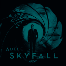 "A green-tinted image of the James Bond gun barrel. Adele's face is stamped in the barrel, and Daniel Craig's Bond is coming out of the barrel towards the viewer. The text ""Adele"", ""Skyfall"" and the ""007"" logo are seen at the bottom of the image."