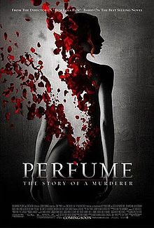 The film's poster is dominated by the dark silhouette of a naked woman standing against a brightly-lit black background with her back facing towards the camera. The top left quarter of her back, from her lower back to her left shoulder, has been digitally altered to deteriorate gradually into a bevy of bright red rose petals.