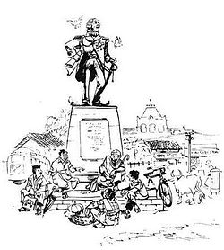 A drawing by R. K. Laxman for his brother R.K. Narayan's malgudi Days