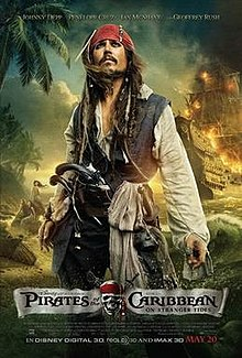 The film's main character Jack Sparrow stands on a beach. He wears a red bandana, a dark blue vest with a white shirt underneath and black pants. Attached to his belt are two guns and a scarf. A ship with flaming sails is approaching from the sea. In the background, three mermaids are sitting on a rock. The names of the main actors are seen atop the poster, and the film credits are at the bottom.