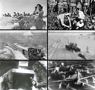 डावीकडून: वाळवंटात कॉमनवेल्थचे सैन्य; जपानी सैनिक चिनी नागरिकांना जिवंत पुरताना; अंतर्गत बंडाळी मध्ये रशियन सैन्य; जपानी युद्ध विमाने; बर्लिनमध्ये रशियन सैन्य; एक जर्मन पाणबुडी.