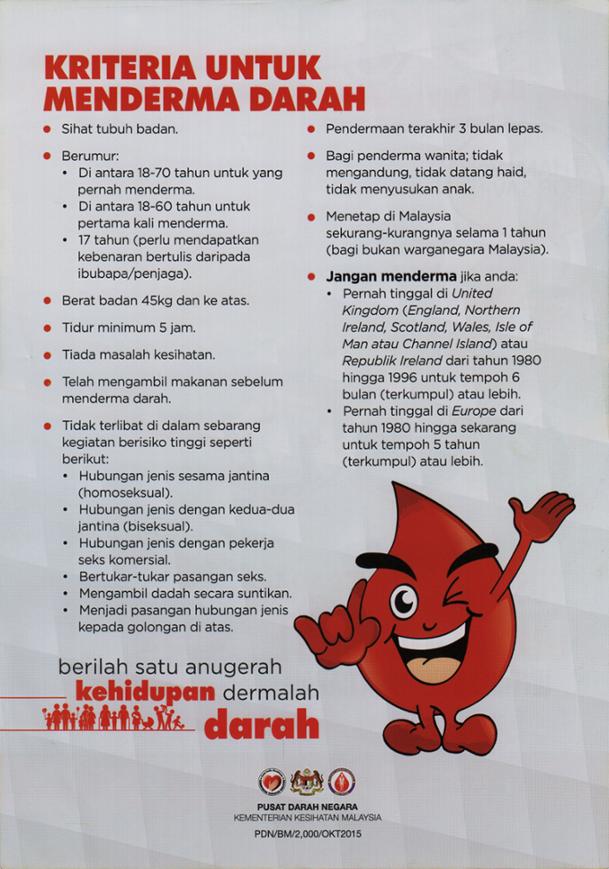 kriteria penderma darah