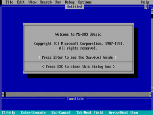 The opening screen of QBasic.
