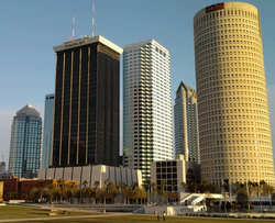 Downtown Tampa facing south from the newly renovated Curtis Hixon Park.