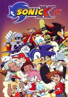 "Sixteen characters pose together, including humans, cartoon animals, and robots. A logo of the text ""Sonic X"" and the number 2 appears at the top of the image."