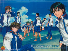The Prince of Tennis Logo. From left to right: Fuji, Tezuka, Inui, Kaido, Kawamaru, Momoshiro, Kikumaru, Oishi, and Ryoma