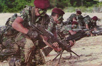 Anggota-anggota elit 10 Briged Para semasa operasi menggempur lokasi pengganas semasa latihan Ops Pasir di Pulau Berhala, Sabah pada 13 November 2007. Anggota hadapan didapati bersenjatakan mesingan FN Minimi.