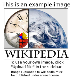 A spiral made up of a compass, clock and the Earth, with the word Wikipedia below.