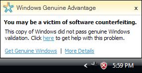 Windows Genuine Advantage Notification