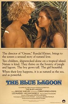 Poster tayangan pawagam filem The Blue Lagoon, 1980