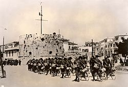 Durazzo, Albania, April 1939, Italian soldiers entering the city.jpg
