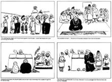 Empat bingkai segiempat menggambarkan acara-acara perkahwinan Sikh ...