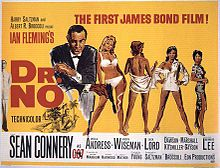 In the foreground, Bond wears a suit and is holding a gun; four female characters from the film are next to him.