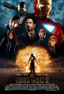 Tony Stark is pictured center wearing a smart suit, against a black background, behind him are is the Iron Man red and gold armor, and the Iron Man silver armor. His friends, Rhodes, Pepper, are beside him and below against a fireball appears Ivan Vanko armed with his energy whip weapons.