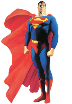 Superman with his cape billowing