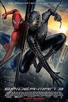 "Movie poster illustrates Spider-Man swinging from a web next to a reflection of himself in the window of a large skyscraper in New York City. The reflection shows the regular red-and-blue Spider-man costume, while the Spider-Man swinging through the city shows him wearing his symbiote black costume. Text at the top of the image includes the tagline ""The Greatest Battle Lies Within"". Text at the bottom of the poster reveals the title, production credits, and release date."