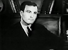 Full-face black and white shot of Jack Nichols appearing on television in 1967