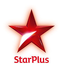 "A red, 5 pointed star with a metallic sheen, and a silver reflection from the leg of the lower left point. The words ""Star Plus"" are below the star."