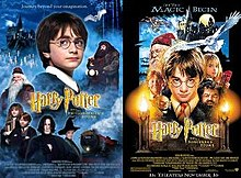 "Two posters, one with photographs and the other hand-drawn, both depicting a young boy with glasses, an old man with glasses, a young girl holding books, a redheaded boy, and a large bearded man in front of a castle, with an owl flying. The left poster also features an adult man, an old woman, and a train, with the titles being ""Harry Potter and the Philosopher's Stone"". The right poster has a long-nosed goblin and blowtorches, with the title ""Harry Potter and the Sorcerer's Stone""."