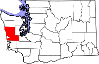 Map of Washington highlighting Grays Harbor County