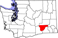 Map of Washington highlighting Franklin County