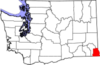 Map of Washington highlighting Asotin County