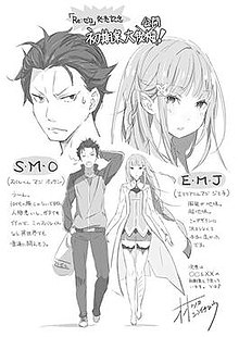 A drawing of Subaru and Emilia side by side, with close-ups of their faces positioned above them. Japanese text on either side of the image.