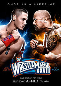 Poster oficial do evento com John Cena e The Rock