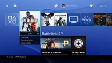 Imagem do software do sistema da PlayStation 4, mostrado durante a conferencia de 2013.
