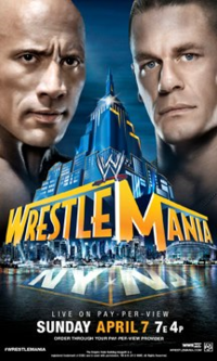 Poster promocional do evento com The Rock e John Cena