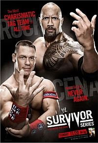 Poster promocional do evento, com John Cena e The Rock