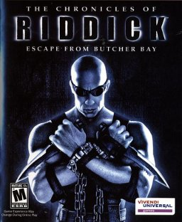 "A bald man holding two knives and wearing black clothing, chains, and goggles. The man is in front of a black background with ""The Chronicles of Riddick: Escape from Butcher Bay"" over his head. The ESRB M rating is shown on the bottom left corner and the Vivendi Games logo is on the bottom right corner."