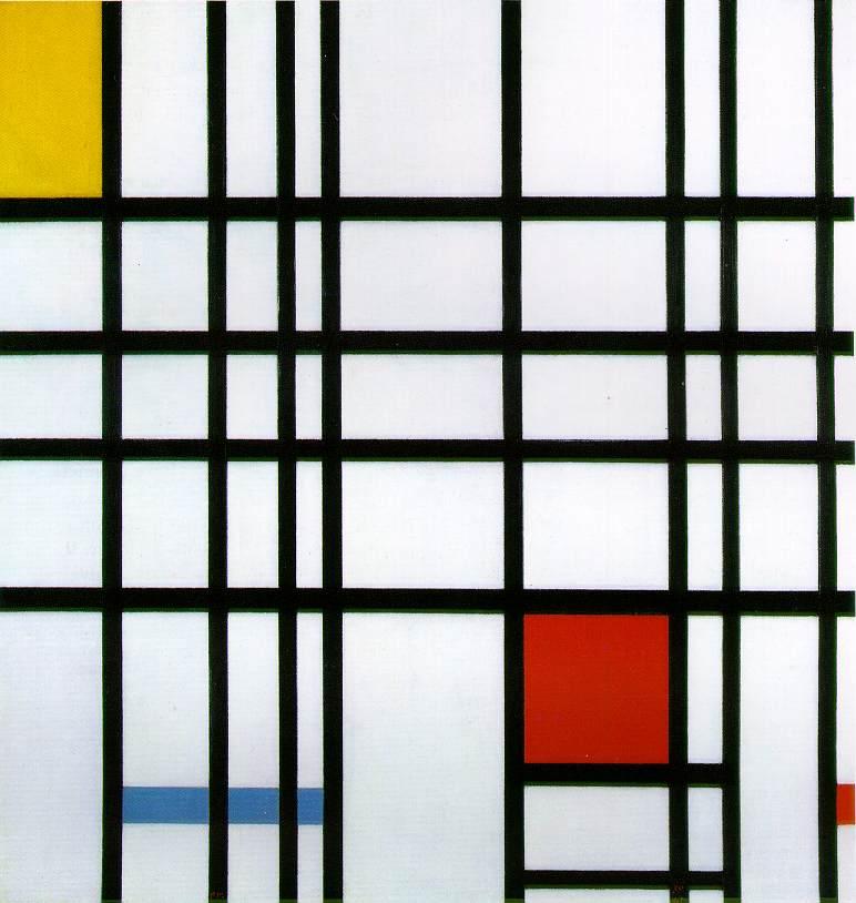 Compozitie cu rosu, galben si albastru
