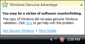 Fișier:Windows Genuine Advantage Notification.png