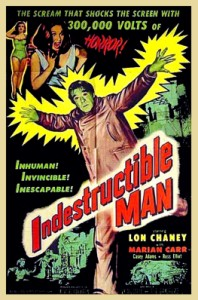 "A promotional film poster for ""Indestructible Man."""
