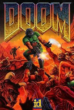 """The Ultimate Doom"" title artwork, painted by Don Ivan Punchatz, depicts the lone hero, a space marine, fighting demonic creatures."