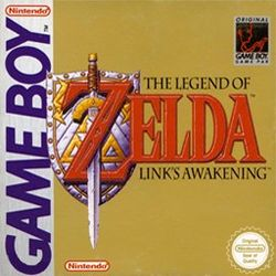 "A sword stands over a shield, and goes through the letter ""Z"" in the title The Legend of Zelda: Link's Awakening."
