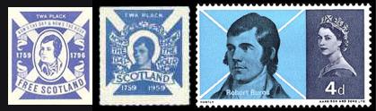 Пропагандистские виньетки Шотландской национальной партии и Венди Вуд с Робертом Бёрнсом. Почтовая марка Великобритании, 4 пенса, 1966 год (Sc #444), выпуска которой они добивались