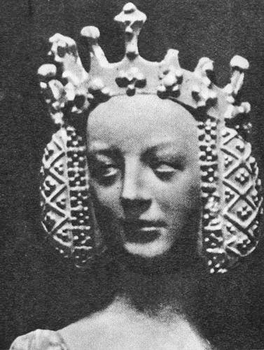 Скульптурное изображение Изабеллы Баварской во Дворце Правосудия в Пуатье. Изображение из Википедии