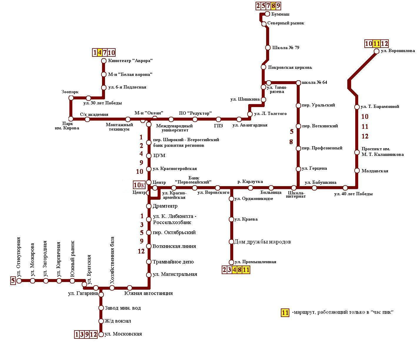 Схема маршруту трамваю