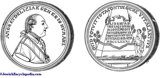 A medal minted during the reign of Joseph II, commemorating his grant of religious liberty to Jews and Protestants.