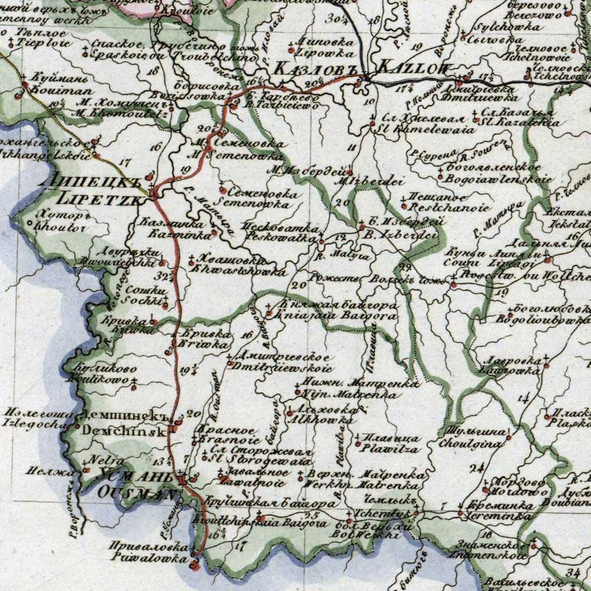 Старые карты усманского уезда тамбовской губернии, границы у.