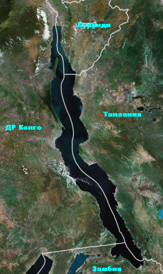Карта озера Танганьика
