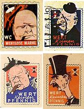Немецкие почтовые марки-карикатуры на Черчилля. 1940—1944