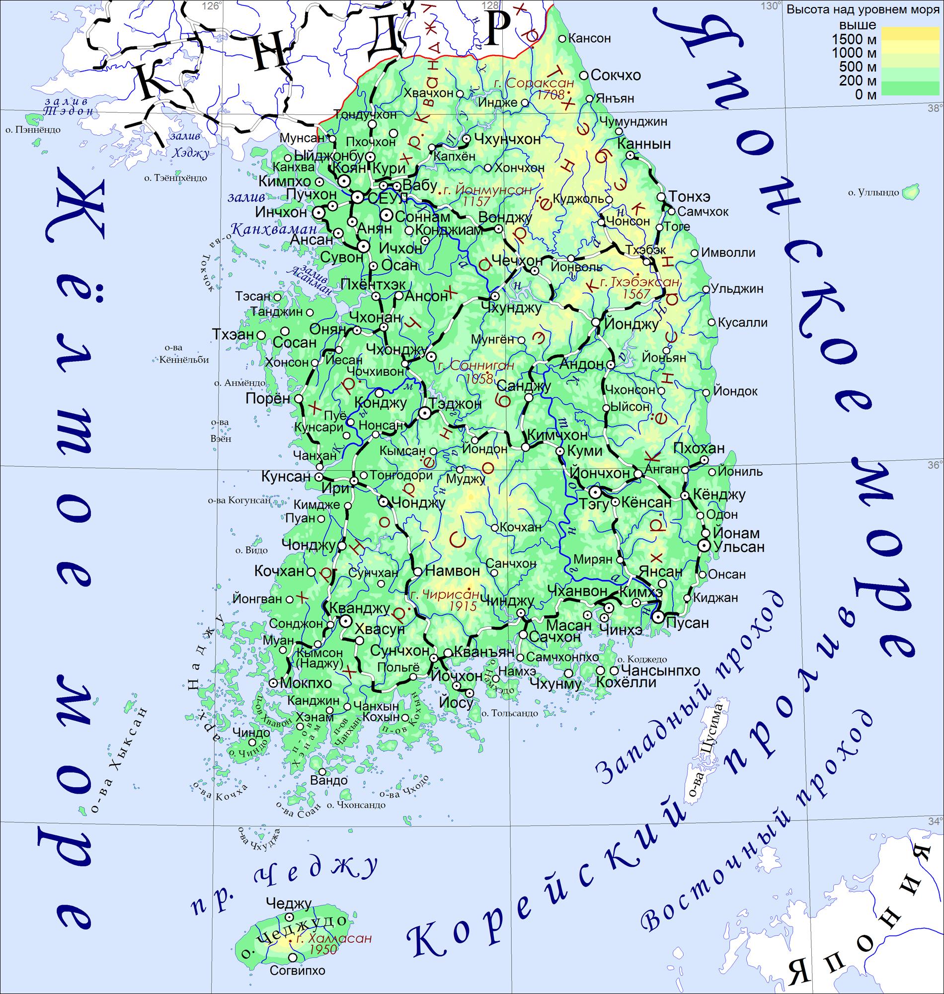 Республика Корея Википедия Физическая карта Республики Корея