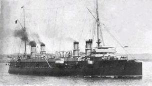 Французский броненосный крейсер «Гишен», один из нескольких французских кораблей, участвовавших в спасении армян