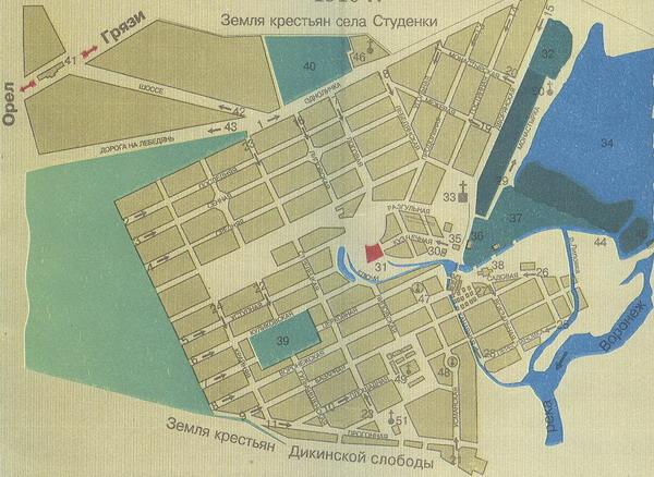 План города Липецка 1910 года